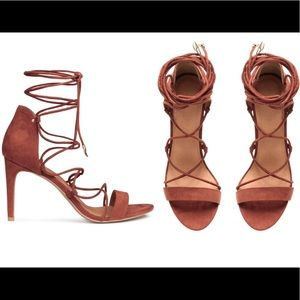 Rust Suede Strappy High Heeled Sandals
